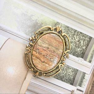 Vintage Marble Stone Deco Brooch Pendant